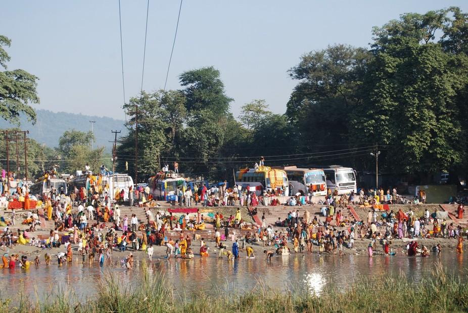 The ritual bathing in the Ganges near Haridwar.