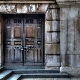 Old door of St. Paul's Cathedral, London