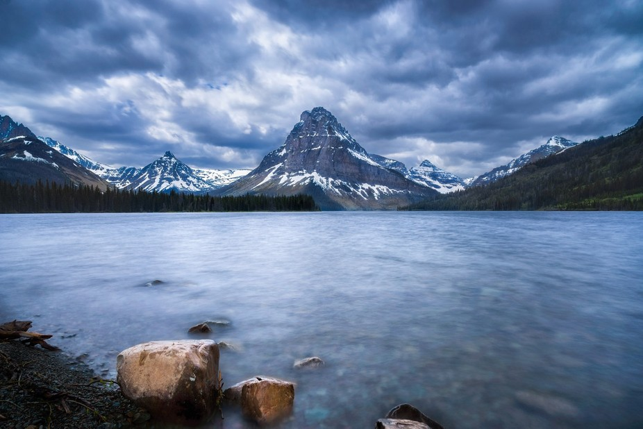 Two Medicine Lake, Glacier Nat Park. This is a hand blended compilation of several different manu...