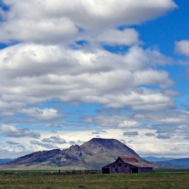 Old barn and Bear Butte