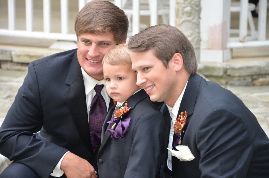 My oldest sons wedding.  The ring bearer is my nephew they all looked so handsome just snapped th...