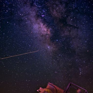 A Jeep chasing Flight 453 to the Milky Way near Borrego Springs, California