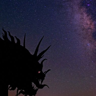 Hungry Dragon looks hungrily at a nearby town, under the Milky Way near Borrego Springs, California