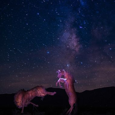 Stallion statues establishing dominance under the Milky Way near Borrego Springs, California
