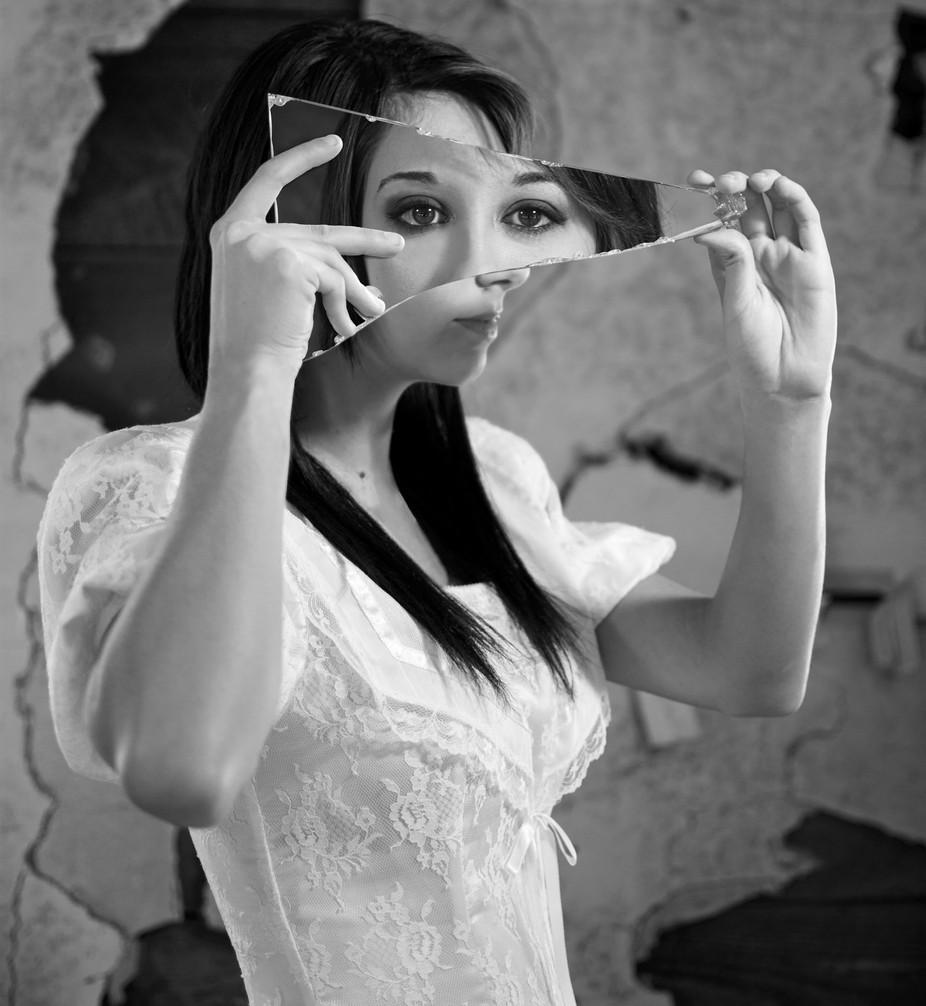 Broken Mirror Reflecting a Broken Self by Kirin_Chestnut - The Face in the Mirror Photo Contest
