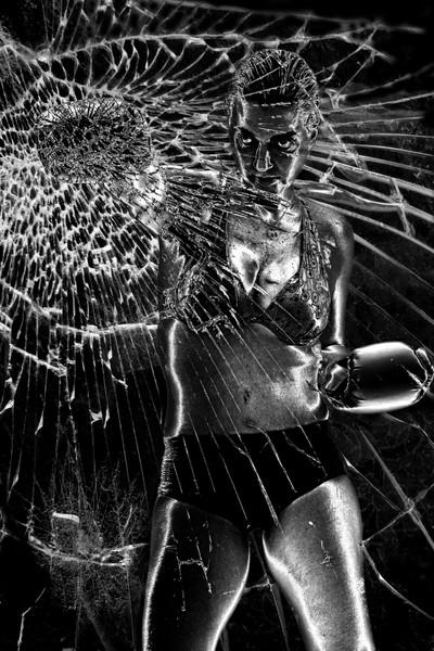 Woman at glass subtle grunge4 B&W