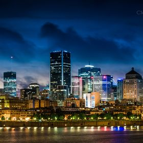 Cityscape of Montreal captured during the night.