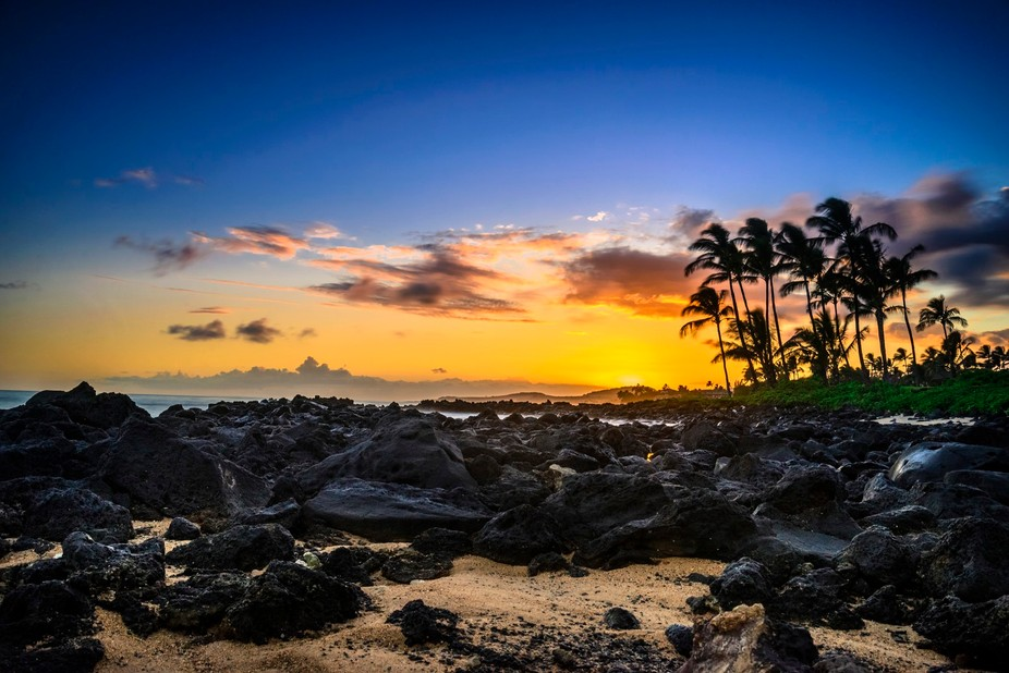 A beautiful sunset from the jungle island of Kaua'i, Hawaii.