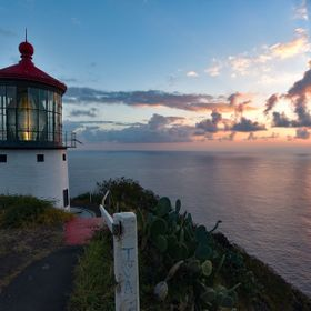 This is the best sunrise shot I have captured yet.  I had to break the rules a bit, since the path to the Makapu'u Point Lighthouse seen her...
