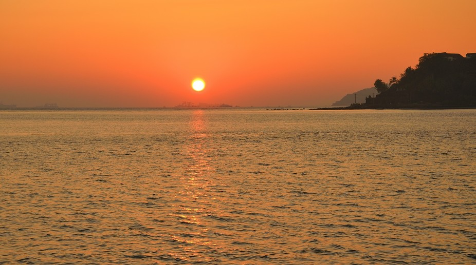 sunset at the goa beach