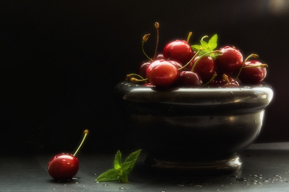 Fresh red summer cherry in nobles kitchen still life.