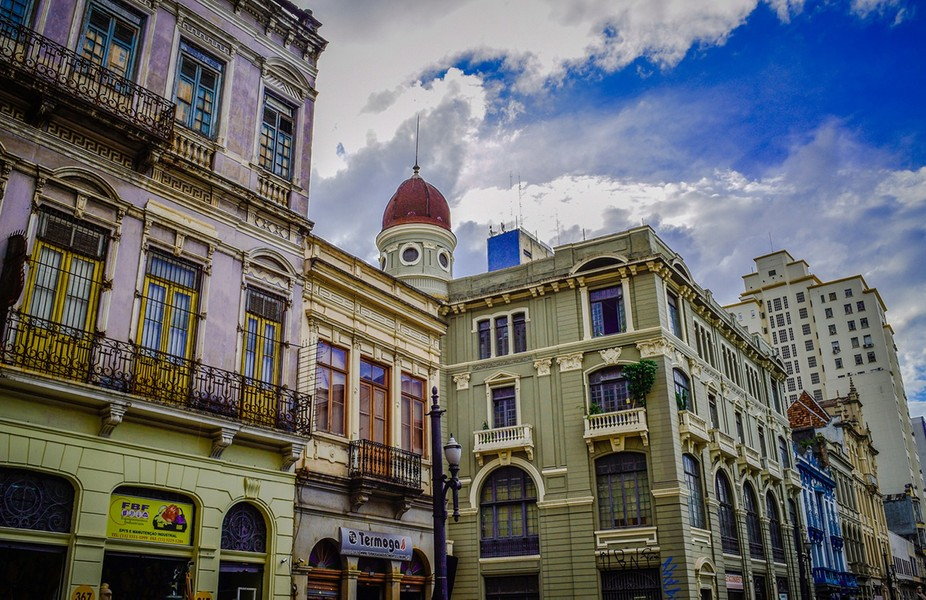 Florencio de Abreu Street, Sao Paulo Down Ton, its old buildings all around, some in very good co...