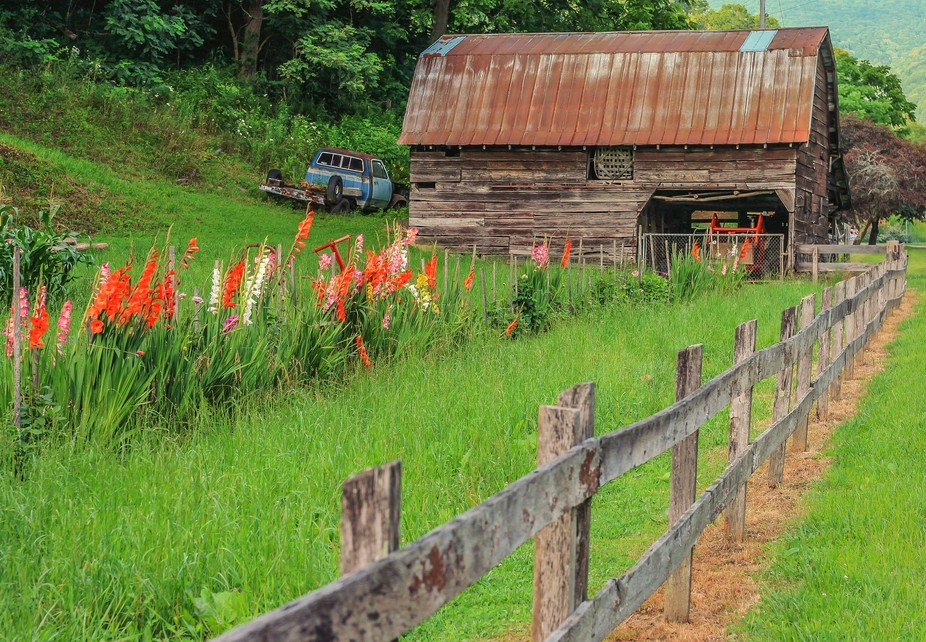 An Appalachian Barn and Garden in Haywood County, North Carolina. It's called Hand Me Do...