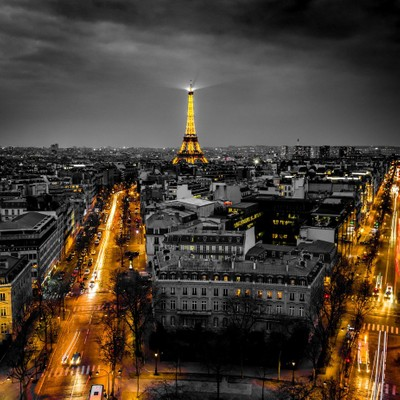 Eiffel tower at Paris in B-W and ... yellow