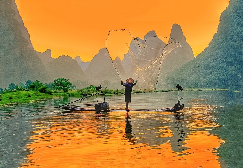 Fisherman in Guiiin China on the L.i River