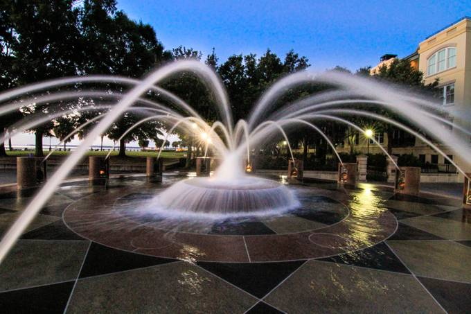 Waterfront park in Charleston, SC. In the summer little and big kids play in this fountain.