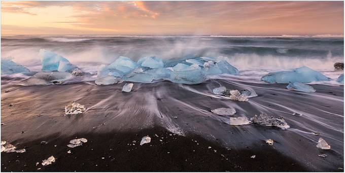 Waves and Ice on Black Sand Beach by mjkirkland - Long Exposure In Nature Photo Contest