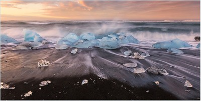 Waves and Ice on Black Sand Beach