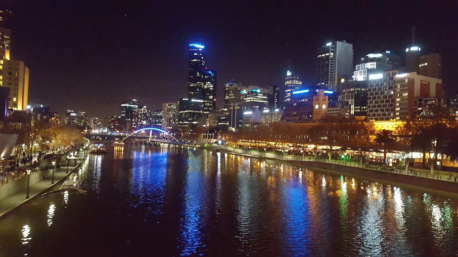A clear June night in Melbourne along the Yarra River.
