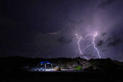 Beach Camping with Storms Brewing
