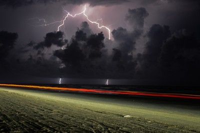 Lightning with Car trails