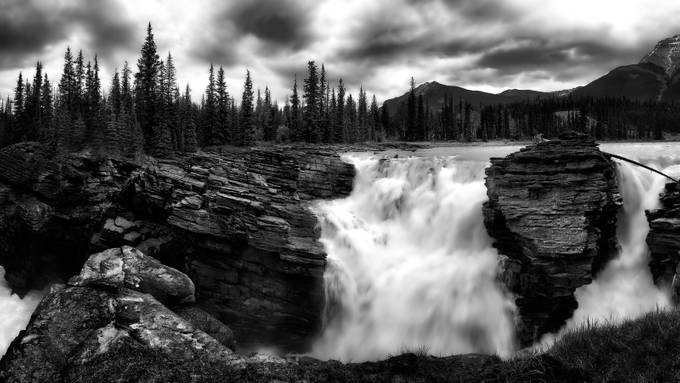 Earth, Sky & Water (Athabasca Falls - Jasper) by Moe_Ali - Black And White Mountain Peaks Photo Contest