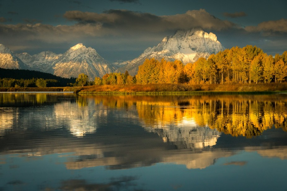 Morning in the Grand Teton Mountains often shows amazing colour and beauty.