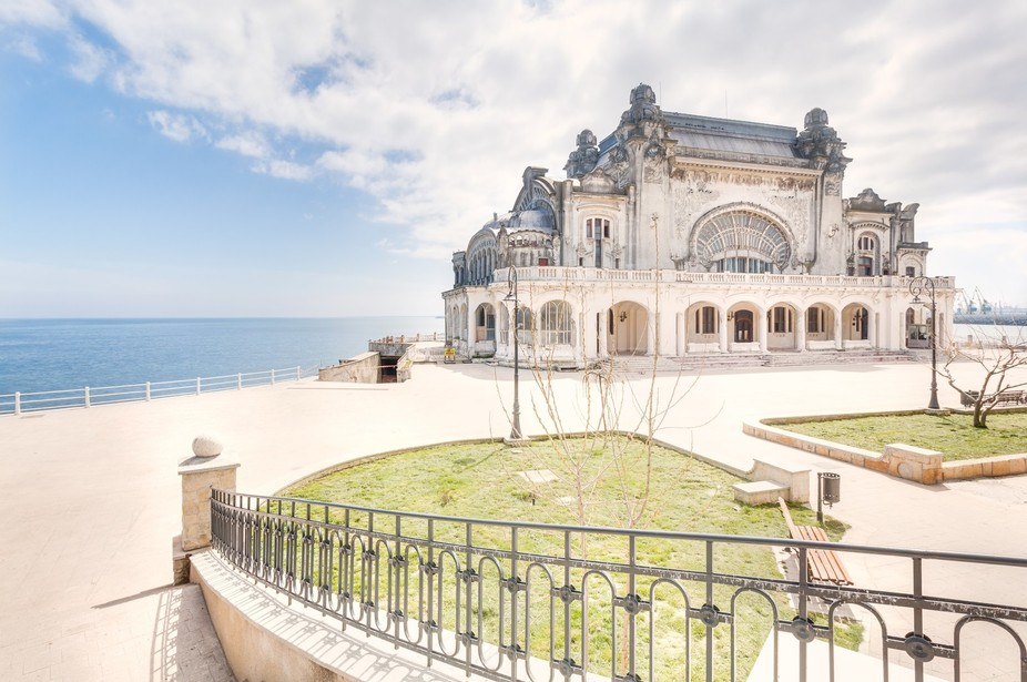 This is an exterior shot of the abandoned casino of Constanta.