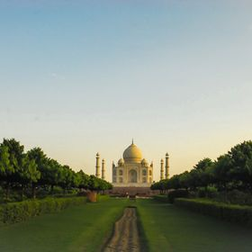 The rear view of the beautiful Taj Mahal, one of the wonders of the world.