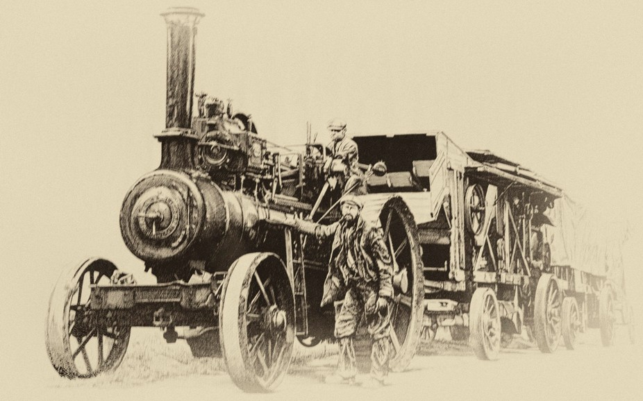 The traction engine, thresher and wagon used to travel around to farmers across England before mo...