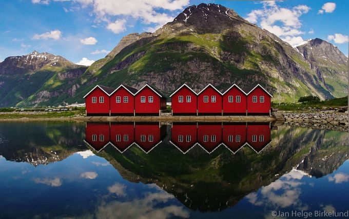 Red boathouse by janhelge - Lakes And Reflections Photo Contest