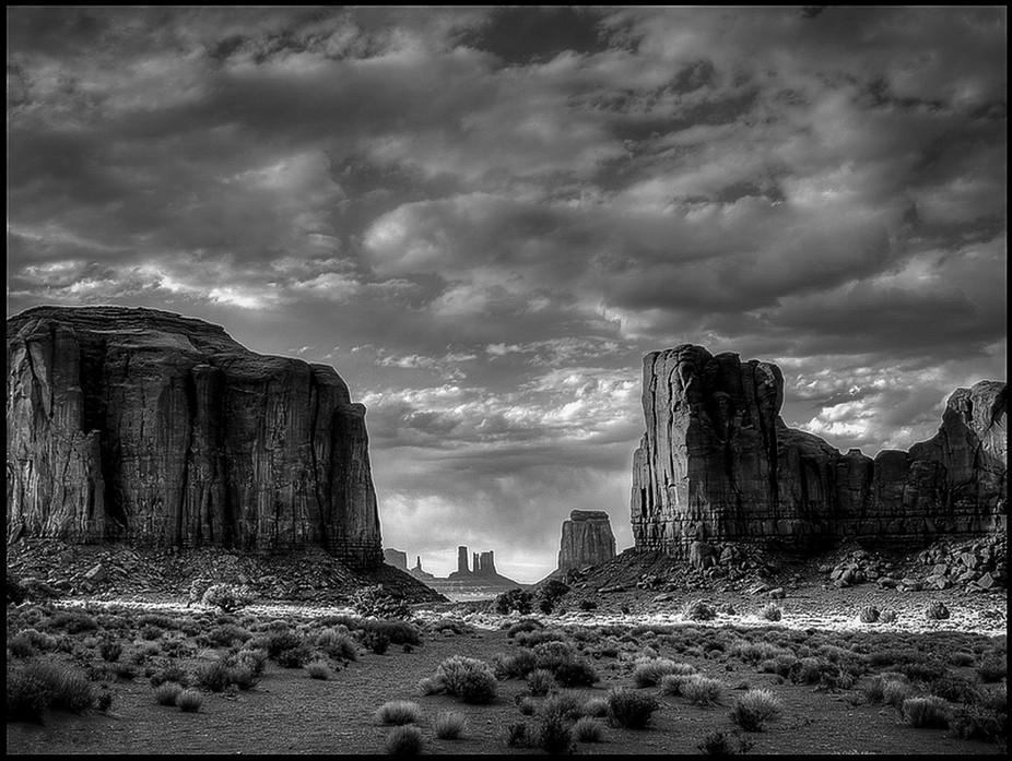 Sundown at North Window View, Monument Valley, Navajo Tribal Park, Arizona