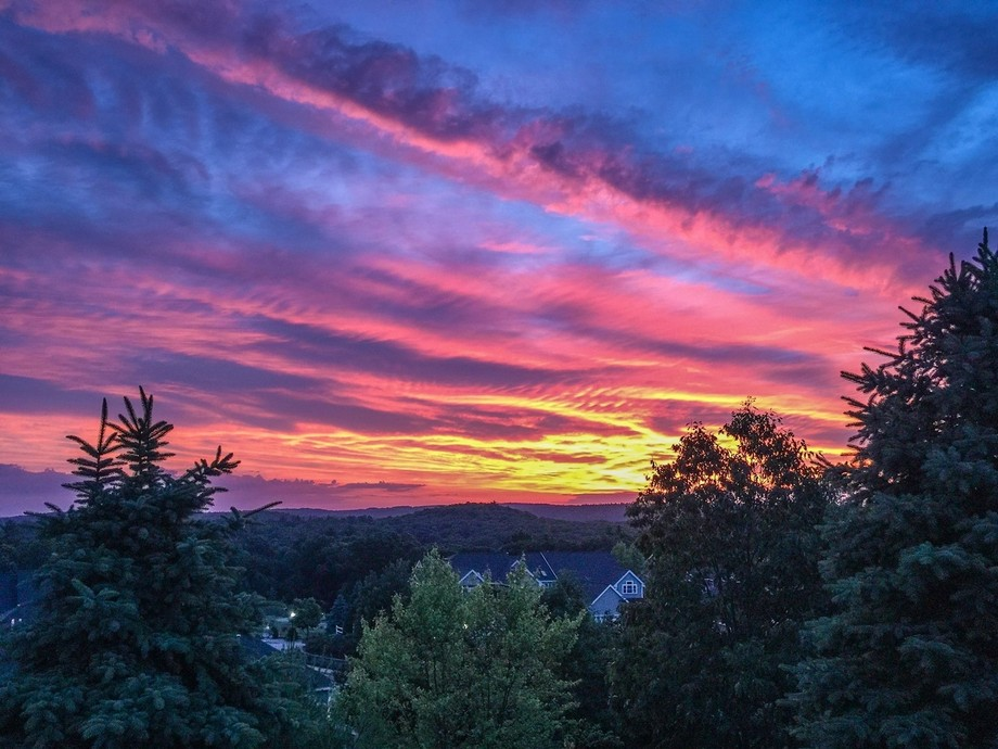 Dawn sunrise over rolling hills taken from perch in Clinton Massachsetts. It was taken with a Can...