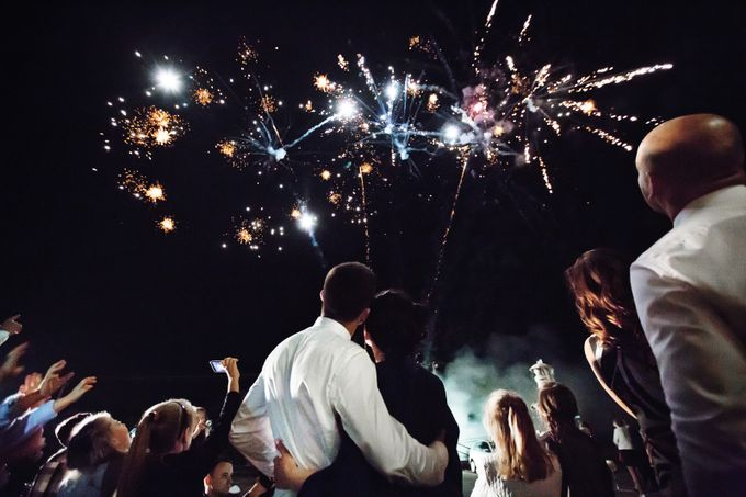 fireworks at wedding party by PawelJ - Candid Wedding Moments Photo Contest