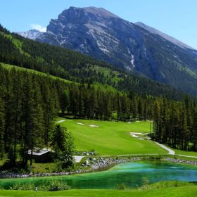 Beautiful view from the patio at Silvertip Golf Course, Canmore Alberta.