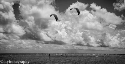 Hydrofoil Kiteboarders Riding the Storm