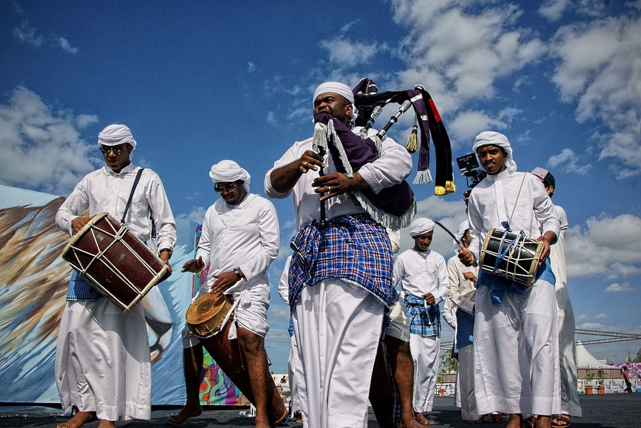 Artisans perform at one of the cultural activities in the UAE. The instruments and the blue cloth...