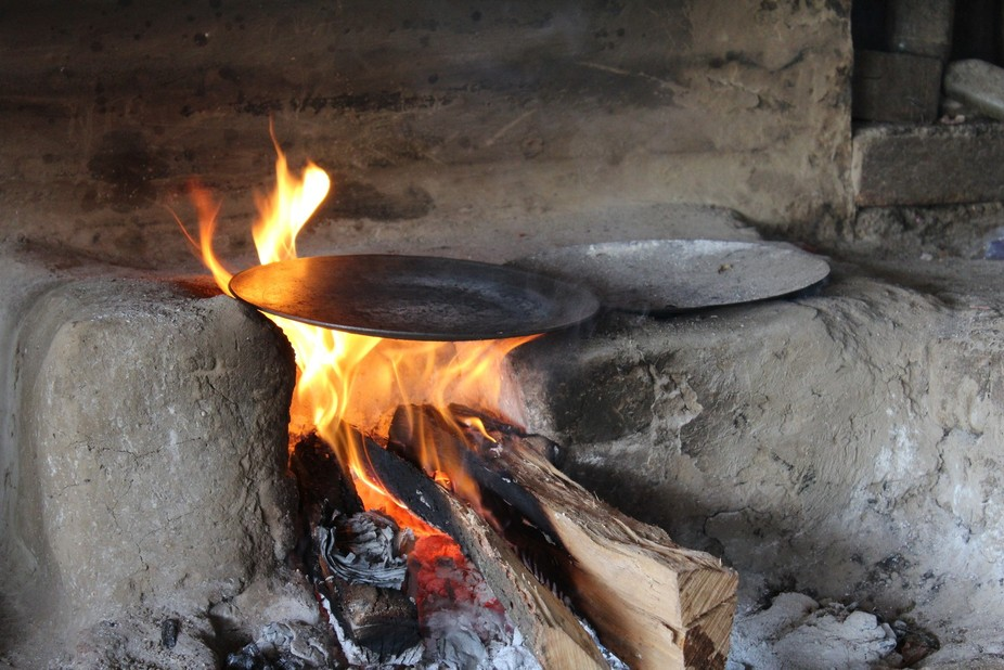 Indian traditional way for cooking food.
