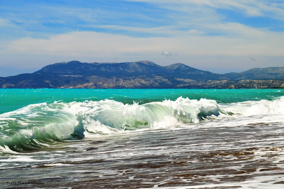 The north coast of Rhodes on the Adriatic sea. The force of the waves was exhilerating