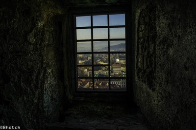 View of Ljubljana city, from a prison cell