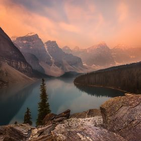 As the sun started to rise over Moraine Lake, I was extremely disappointed that the smoke from nearby forest fires in Washington State and Britis...