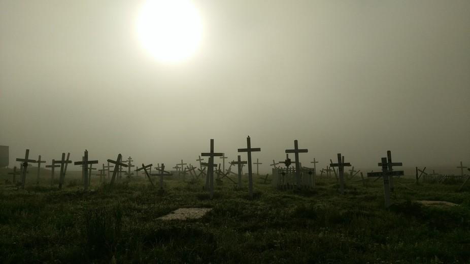 Foggy morning graveyard site