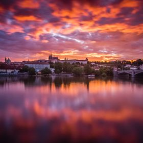 Sunset on Praha castle. Czech republic.