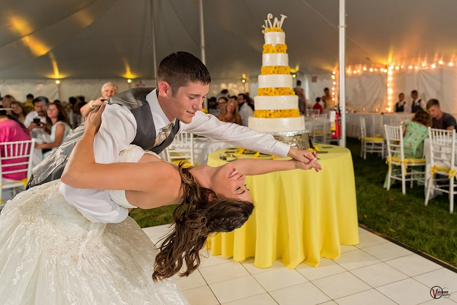 Joyful wedding shot.