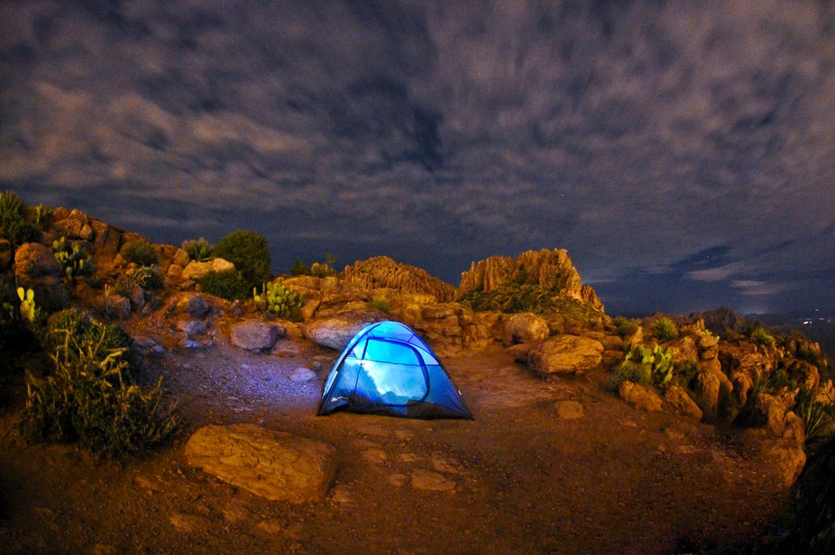 Camping on top of Flatiron in the Superstition Mountains in Gold Canyon, Arizona.