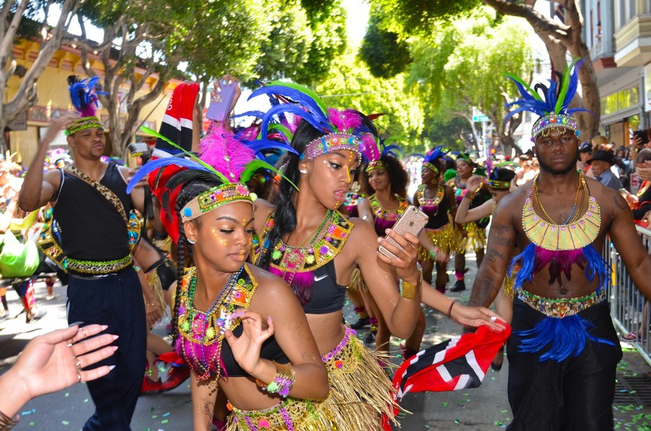Revelers from Trinidad and Tobago at San Francisco Carnival having a GREAT time--2016.