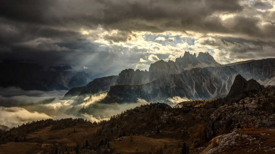 One shot from amazing morning at autumn in Dolomites