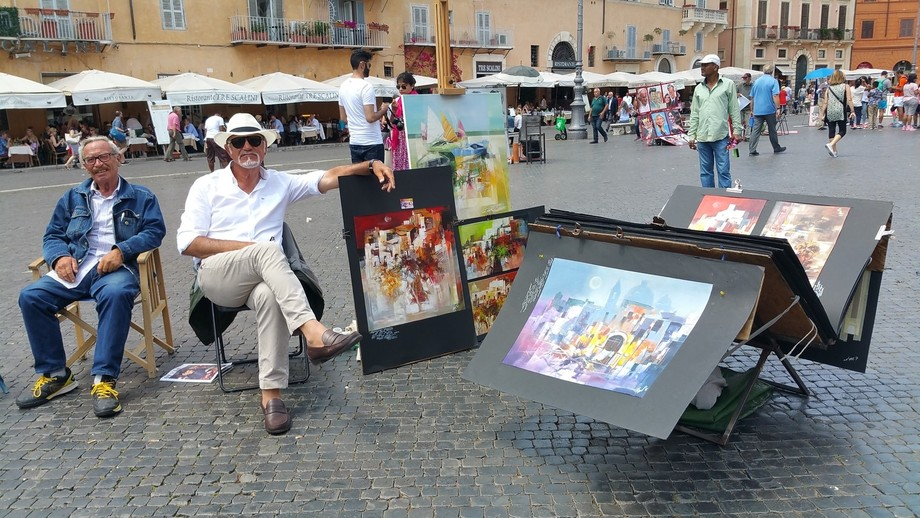 Italy, Rome, Piazza Navona, Tourists, Artists