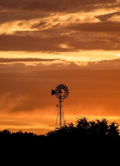 Sunrise Windmill Silhouette