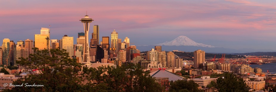 The last spring sun sets over Seattle. When it rises again, it will be Summer. This photograph wa...